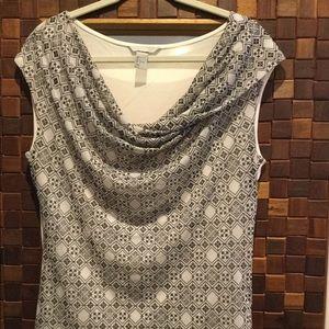 Cowl neck grey pattern blouse